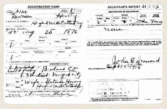 Newman Harvey's draft registration WWI