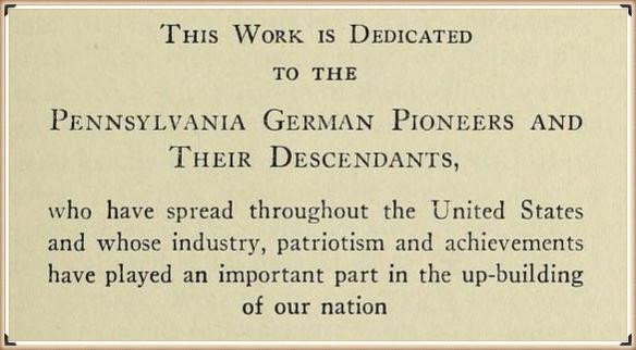 To the descendants of Pennsylvania German Pioneers