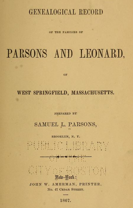 Genealogical Record of the Families of Parsons and Leonard