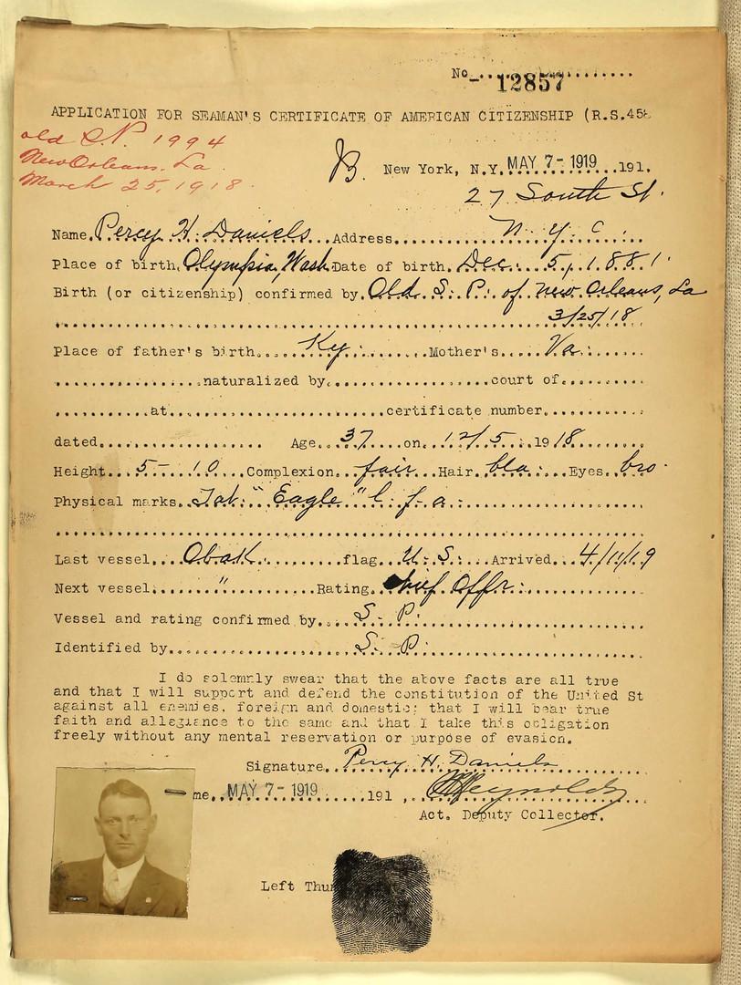 Percy H Daniels Seaman's ID 1919