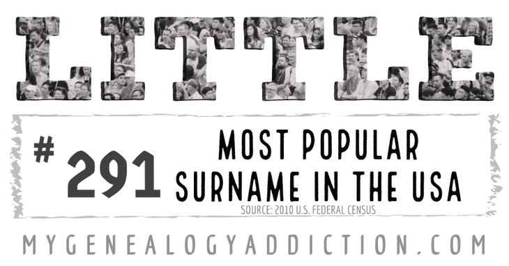 Little, ranked 291st among the most common surnames in the USA