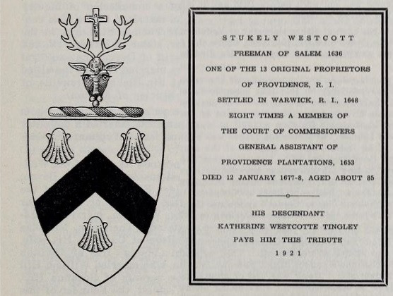 Stukely Westcott plaque and coat of arms