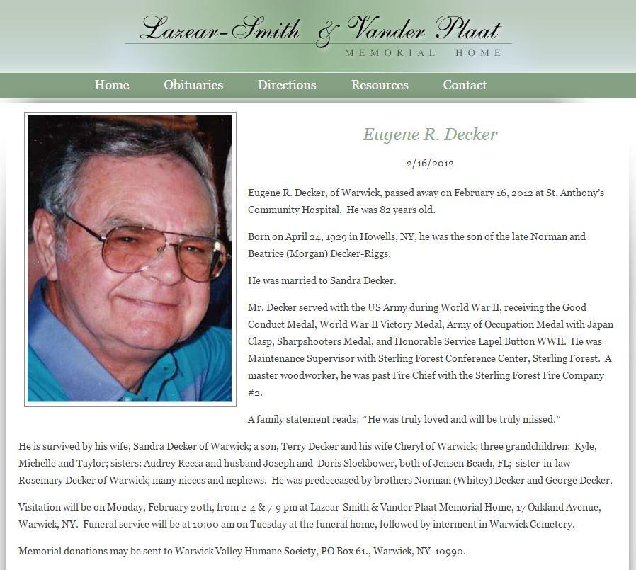 Eugene R Decker obituary