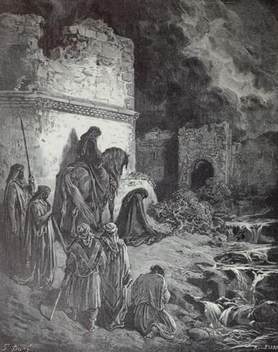 Nehemiah before the gates of Jerusalem