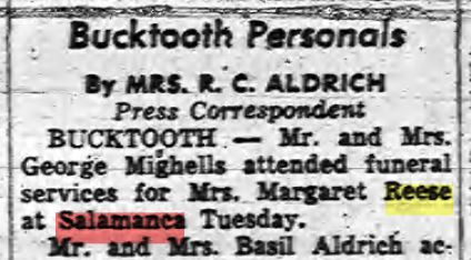 Margaret Dickinson Reese funeral guests Mighells