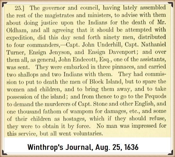 John Underhill in Winthrop's Journal