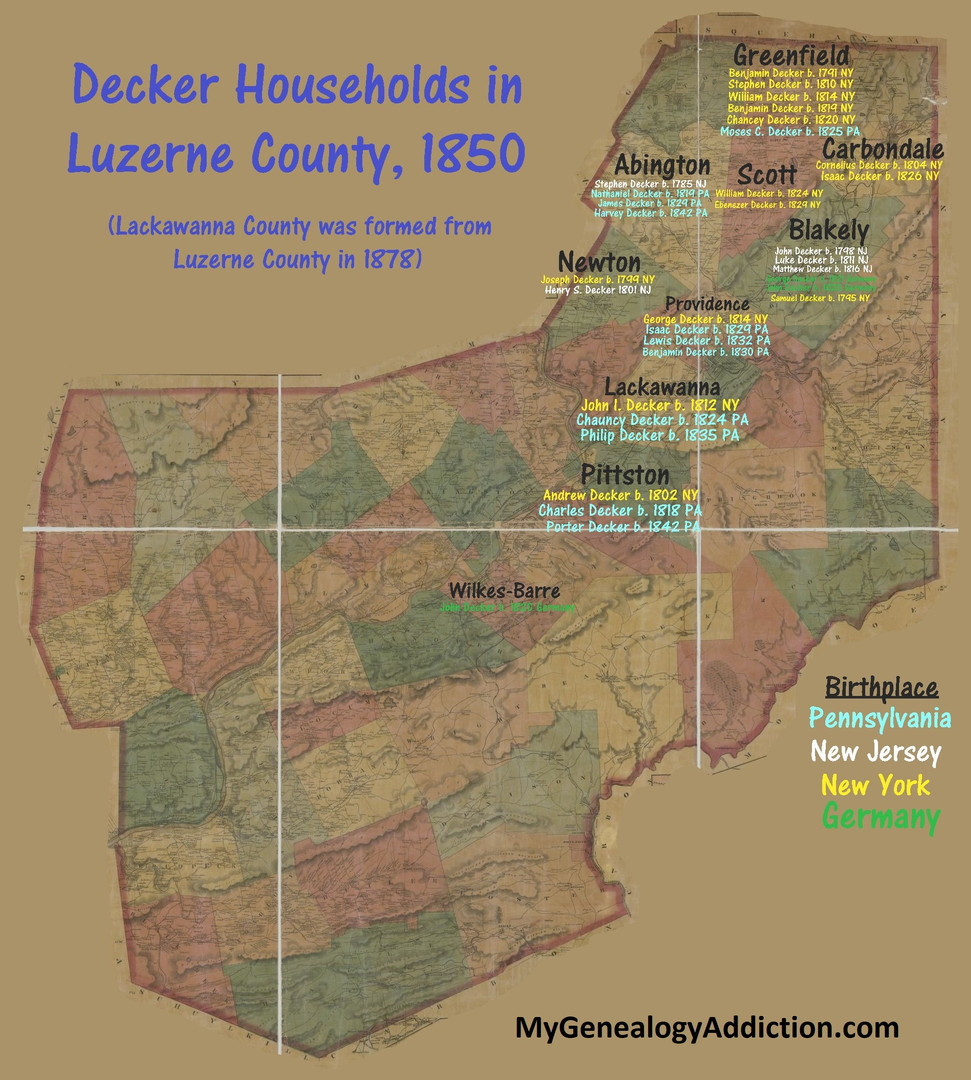 Deckers of Luzerne County 1850
