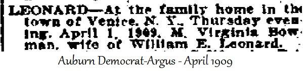 M. Virginia Bowman, wife of William E. Leonard