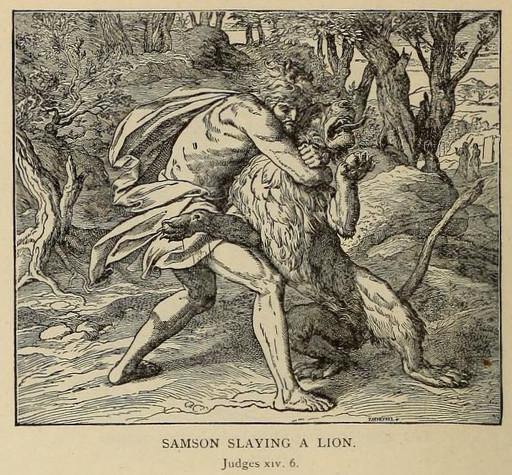 Samson slaying a lion