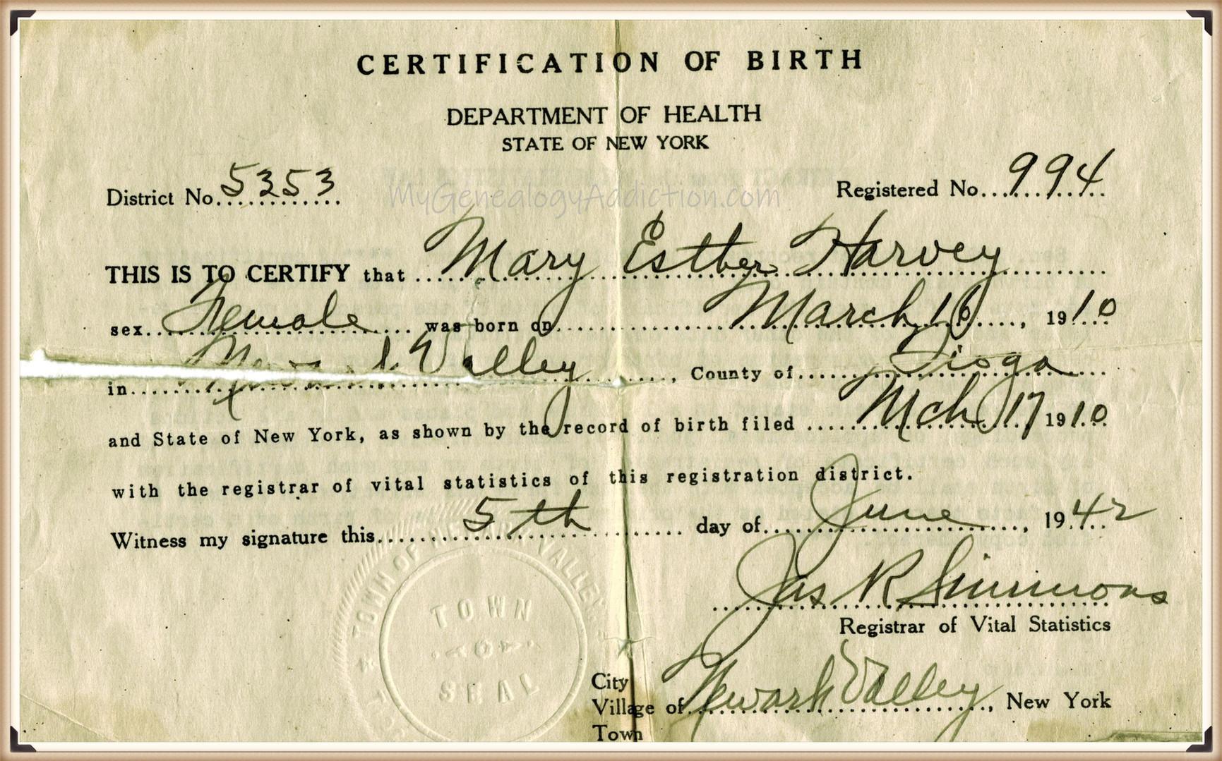 Mary E. (Harvey) Reese Gaul birth