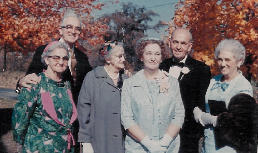 William H Dickinson with siblings in old age