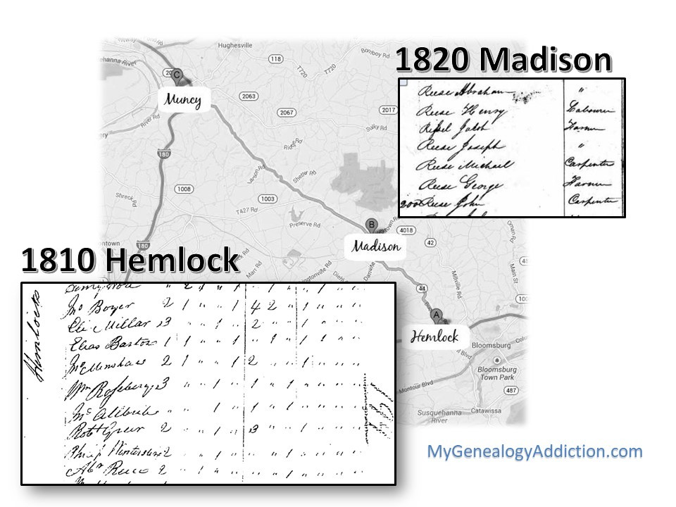 Abraham Reese on the Census 1810-1820