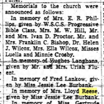 In memory of Mrs Lloyd Reese