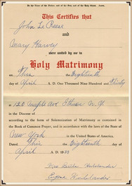 John Reese and Mary E Harvey marriage certificate