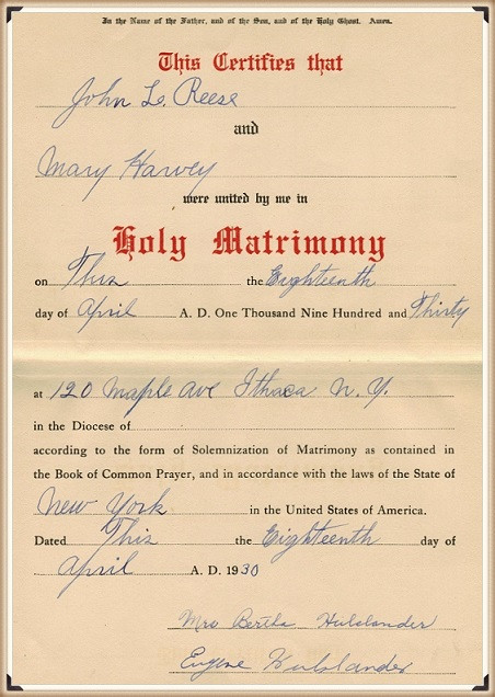 Mary E. Harvey & John Reese marriage certificate