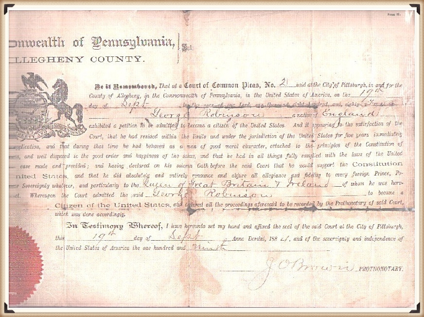 George Robinson's naturalization