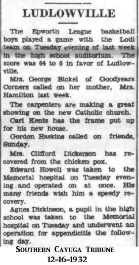 Agnes Dickinson appendicitis 1932