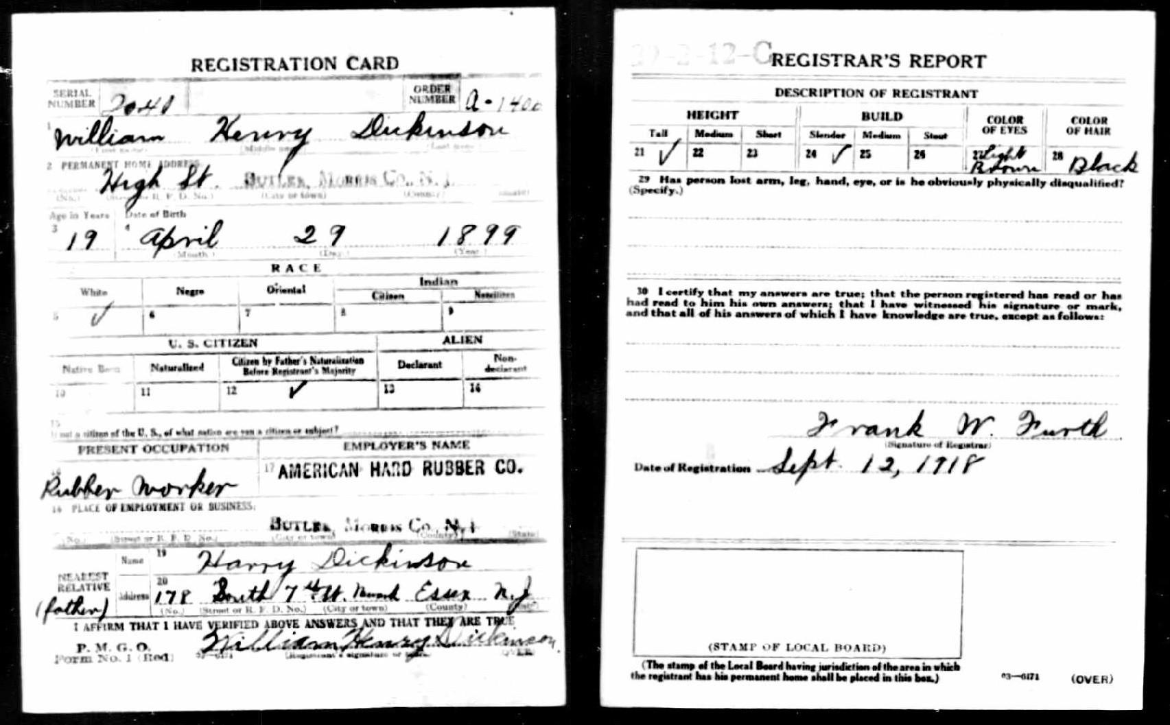 William H Dickinson draft registration WW1