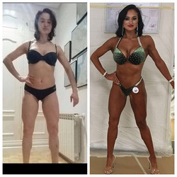 Meet my gorgeous friend and #TeamSpirito #competitionprep client _gabygoesfit !_May - Aug #progress
