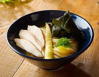 かけうどん+低温鶏チャーシュー +ゆず皮+糸島わかめ+竹の子