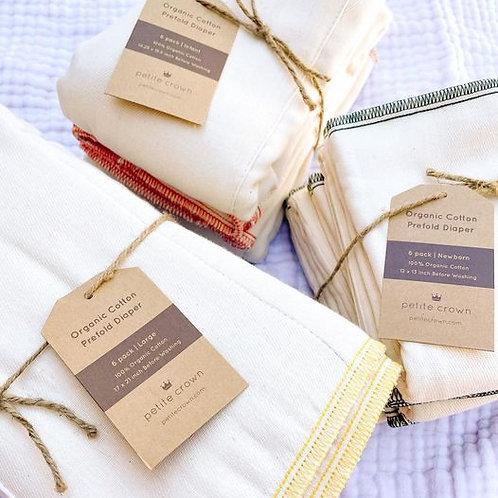 Pañales preplegados, algodón orgánico sin blanquear - Paquete de 6-talla 2