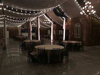 Mt Ida fabric swags with bistro lights (