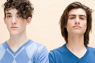 Teenage boys in blue shirt