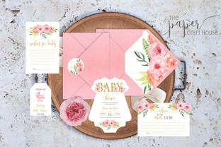 Покана за бебешка погача - Бебешко розово