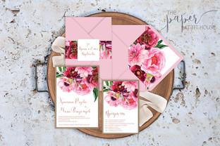 Покана - Букет в розово