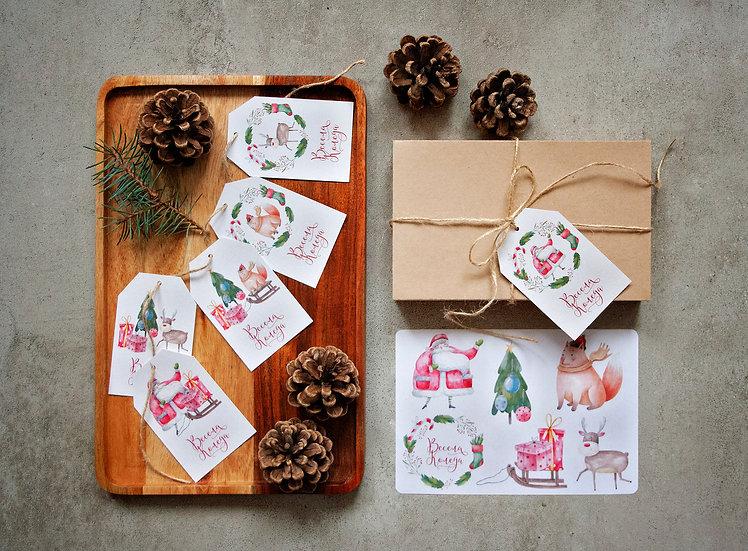 Шест броя Коледни Етикети и Коледни Стикери
