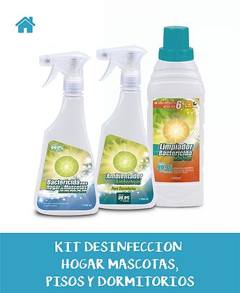 KIT Desinfección HOGAR MASCOTAS+PISOS+DORMITORIOS
