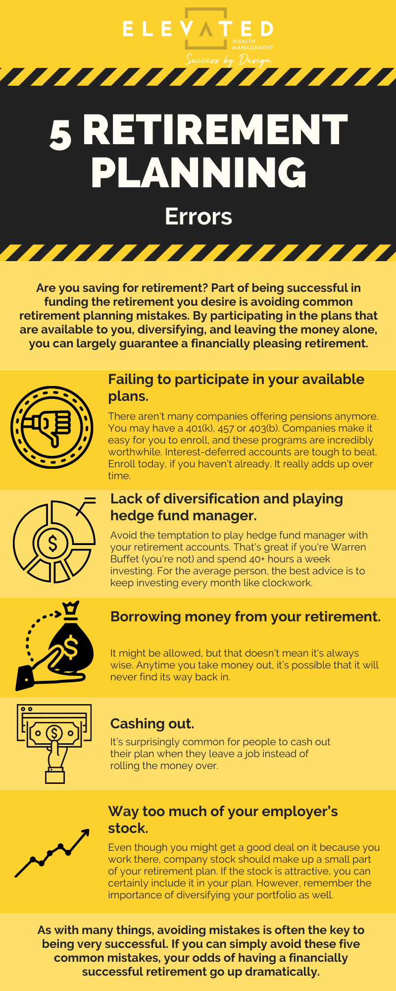 Are you saving for retirement? Part of being successful in funding the retirement you desire is avoiding common retirement planning mistakes. By participating in the plans that are available to you, diversifying, and leaving the money alone, you can largely guarantee a financially pleasing retirement.