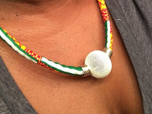 Kente print rope necklace