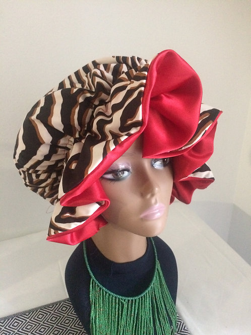 Brown zebra print bonnet