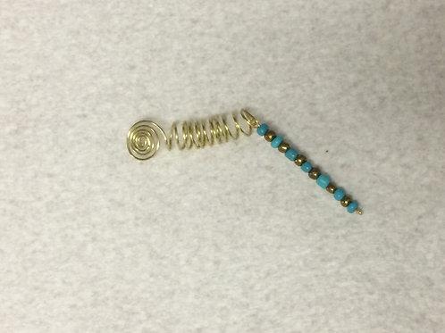 Aqua/Gold Beaded Pinwheel