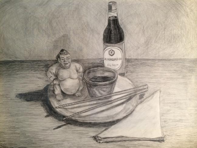 "Sumo sushi, 2015, 18""x24"", graphite"