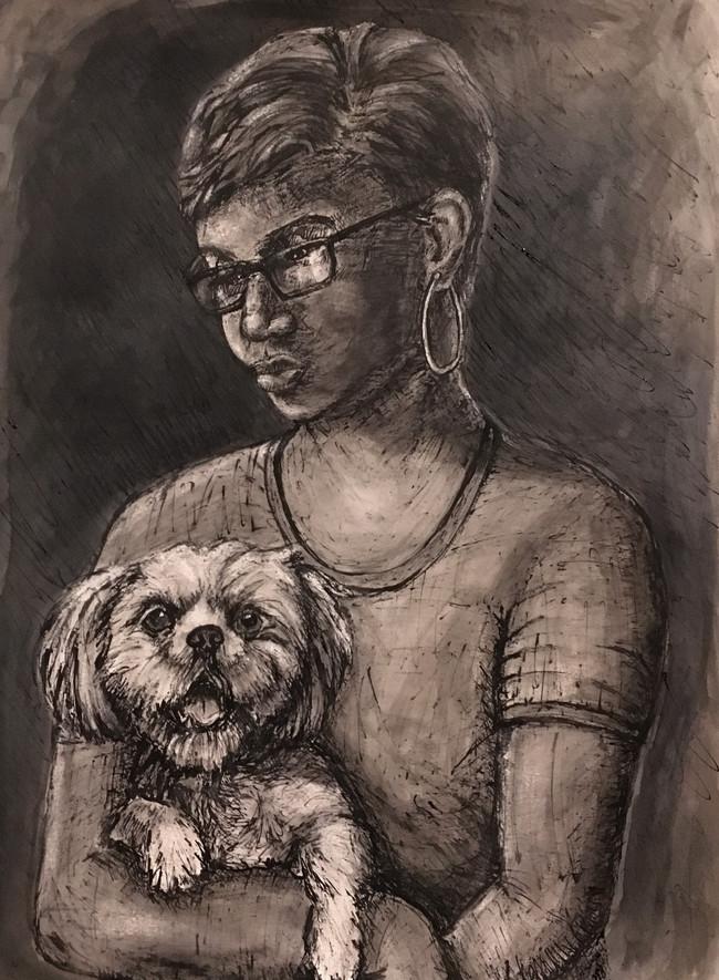 "Girl and Dog, 2018, 18""x24"", ink"