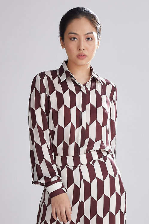 Geometric Brown And Cream Shirt