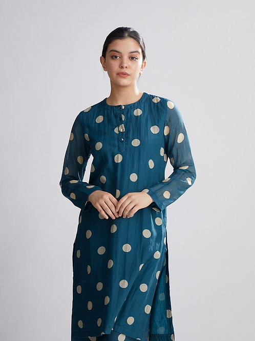 Teal And Cream Polka Dot Kurta
