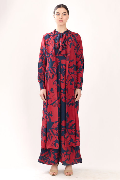 Red And Blue Floral Cape