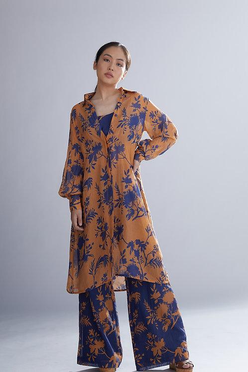 Orange And Blue Floral Long Shirt