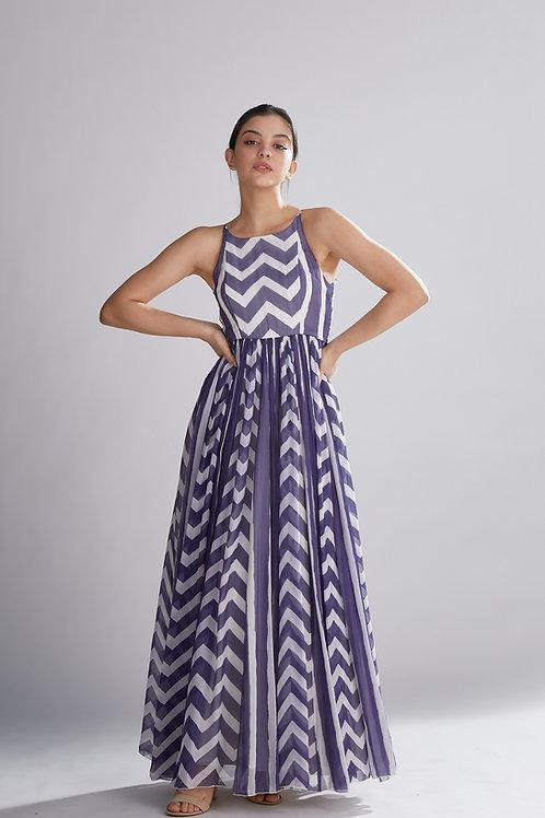 Purple And White Stripe Zig Zag Dress