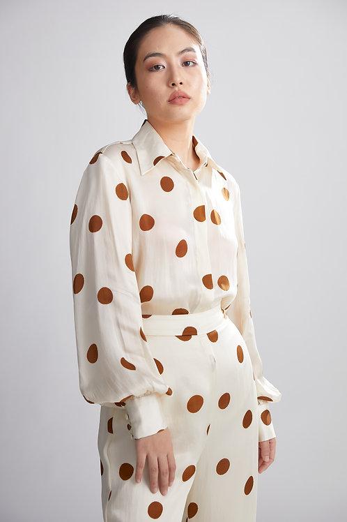Cream And Brown Polka Dot Shirt