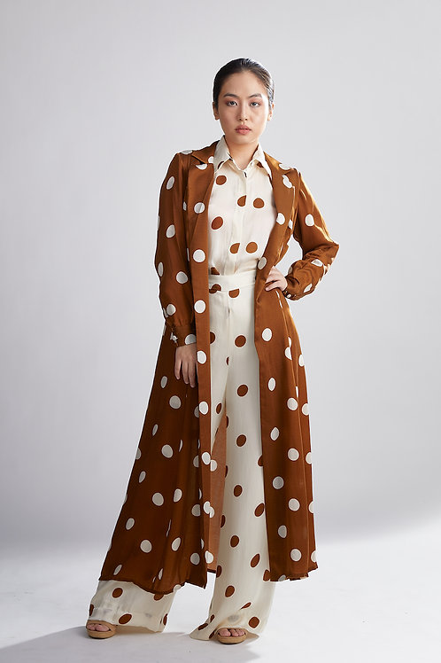 Brown And Cream Polka Dot Trench Cape
