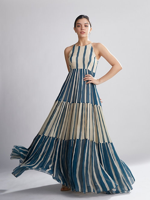 Teal And White Stripe Long Dress