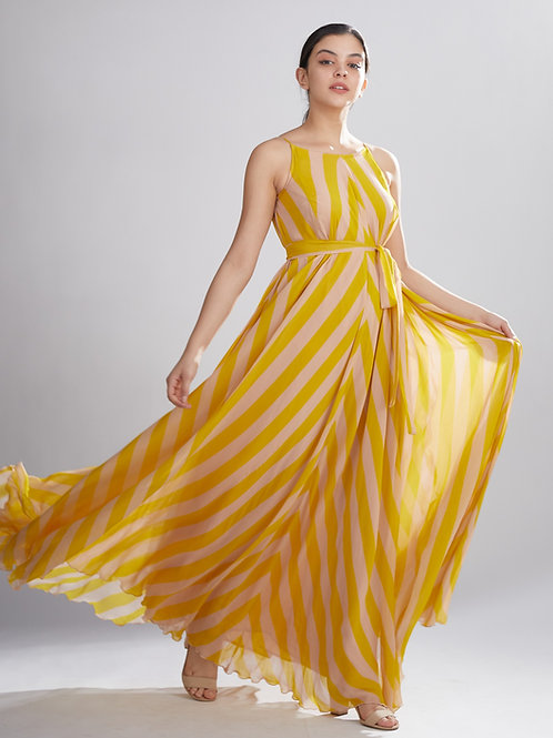 Pink And Mustard Stripe Long Dress