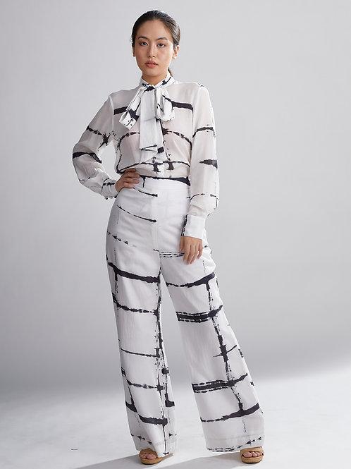 White And Black Shibori Pants