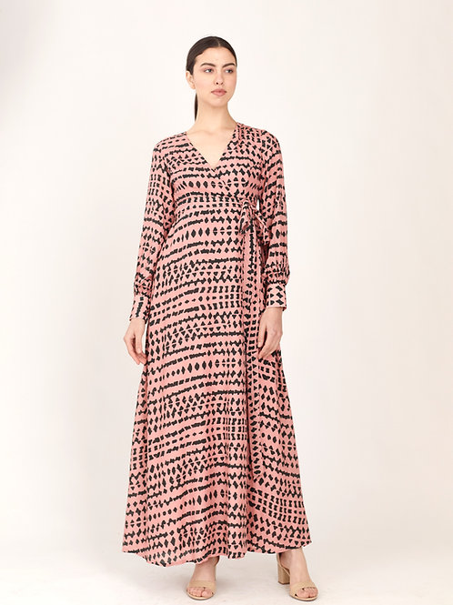 Pink And Dark Green Abstract Wrap Dress