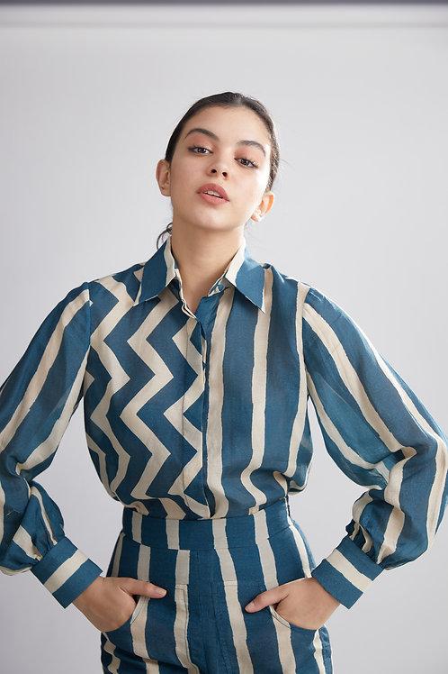 Teal And Cream Stripe Zig Zag Shirt