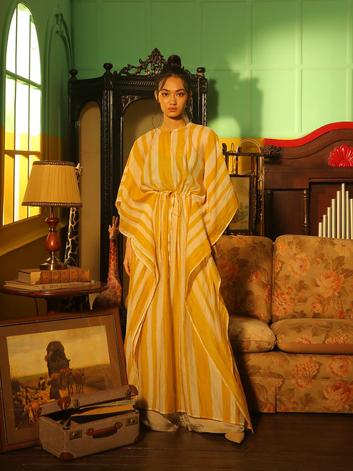 Yellow And White Stripe Kaftan